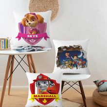 Cartoon Paw Dog Patrol Snow Slide Cushion Cover Cotton Linen Decorative Pillow Covers Home Decor 45*45 cm Kids Gifts(China)