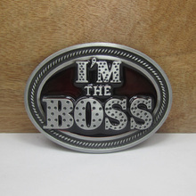Bullzine Fashion I'm the boss belt buckle with pewter finish FP-03007 suitable for 4cm wideth belt free shipping