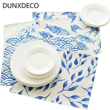 DUNXDECO Table Placemat Dinner Party Plate Cover Pad Desk Accessories Chinese Blue White Porcelain Wave Sparrows Art Print Decor