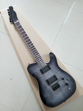 Hot Sale tele electric guitar black hardware tiger striped maple cover black color one piece tl guitar factory direct(China)