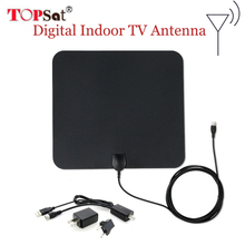 Original HDTV Antenna 35 Miles Range Ultra-thin Indoor Digital HDTV TV Antenna with Amplifier Signal Booster 4m Cable(China)