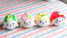 Sweet 4Designs - fruits Seal 10CM approx. Plush Stuffed Animal TOY DOLL , Kid's delicate Key hook chain Plush TOY DOLL