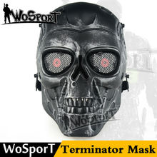 WoSporT Airsoft Skull Mask Full Face Skeleton Safety Silver Steel Wargame Army Field Game Halloween Masks Paintball Accessories