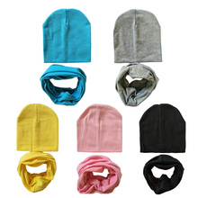 1 Set Cotton Baby Hat Scarf Solid Color Children Caps Scarves Autumn Winter Kids Boys Girls O Ring Collars Beanies(China)