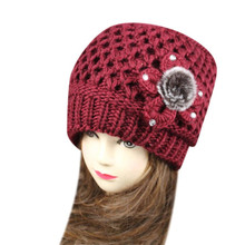 Hot 2017 LKF New Fashion Women Crochet Knit Beanie Beret Soft Ball Cap Baggy Winter Warm Flower Hat Levert Dropship 412(China)