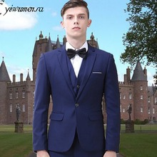 New Arrival groom wedding Mens suit custom wedding dress Navy Bule/black men suit smoking cheap mens blazers tuxedo Suit for man(China)