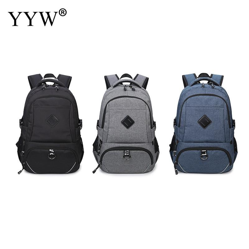 Fashion Male Laptop Backpacks Business with Zipper Travel Bag Solid Big Size Bags Men<br>