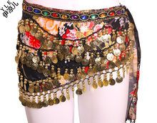 2016 New arrival women cheap belly dance coin scarf belt for sale multi-color multi-strapped law buy more 5PCS DHL free shipping(China)
