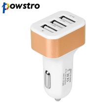 powstro Universal 3 Port USB Car Charger 12-24V 2.1A 2.0A Vehicle Charger for iPhone 5 6S plus ipad Samsung Galaxy S4 S5 Tablet