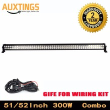 "DISCOUNT!ip67 300w 52""INCH COMBO led light bar WATERPROOF 52 inch led light bar offroad light bar FOR Truck Car ATV SUV 4X4"
