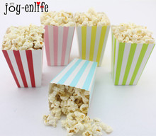 JOY-ENLIFE 24pcs/lot Stripes Paper popcorn Box tub kids Party Decorations baby shower birthday Party Supplies favors