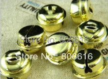 100PCS 20mm Christmas & Pet Gold Color Brass Bells DIY Jewelry Making Beads Acceossories(China)