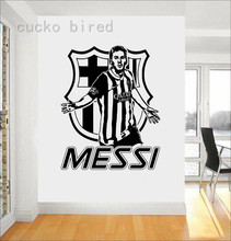 Free Shipping Messi Cool Wall Stickers Service Soccer Player Barcelona Wall Decal Morden Design Shopping Boy Bedroom(China)