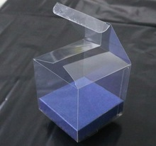 20PCS/LOT  6x6x6cm  Candy Boxes Transparent Plastic Packing Boxes ( With Blue Bottom bracket)