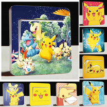 3D Cartoon Pikachu Wall Stickers,Very Cute Pikachu Pokemon Light Switch Stickers,For Children Room Decor Light Switch stickers