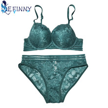 Buy 2018 Luxurious Noble Floral Embroidery Padded Adjusted-straps Sexy Women Lace Bra Set Lingerie Ultrathin Transparent Briefs Set