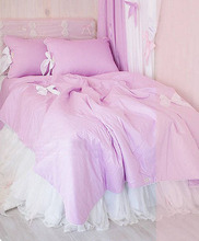 Purple romantic princess bedding sets,cotton twin full queen girl violet elegant fairyfair bedcloth bedspread pillow quilt cover