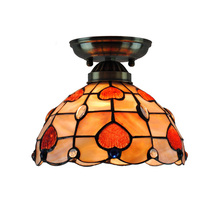 Modern Flush Mount Tiffany Ceiling Light Stained Glass Shell Lampshade Baroque Indoor Decor Dining Room Lighting E26/E27 CL229