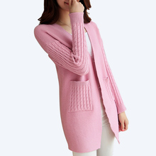 PEONFLY 2017 Knitted Cardigan Women Spring Autumn Winter Casual Sweater Women Long Sleeve Long Cardigan Female Black Pink