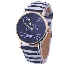 Watches for women Cat Pattern Faux Leather Band Simple relogio feminino Analog Quartz Vogue Wrist Watch Brown kiity cat watches(China)