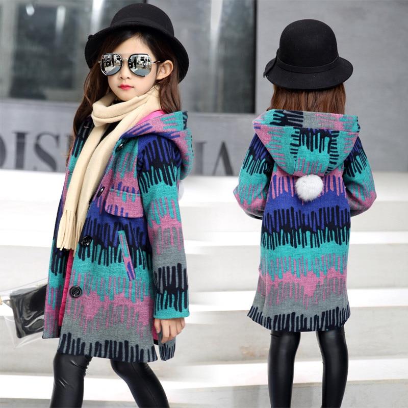 Girl coat 2017 new winter ripple patch bold wool park juvenile girl casual long hooded thick coat 5 6 7 8 9 10 11 12 13 14 Y 7Îäåæäà è àêñåññóàðû<br><br>