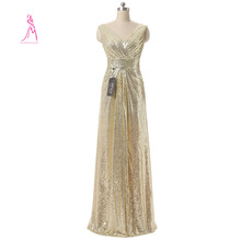 JY Dress Real Photo Sexy V-Neck Evening Sequin Long Dresses Sleeveless Newest Style A-Line Formal Gowns - JYDress Store store