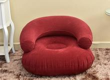 fashion flocking pvc inflatable beanbag single sofa, family home accessory, armchair air bean bag chair