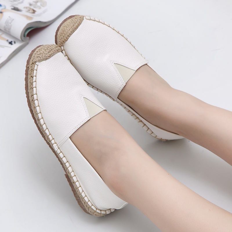 2017 New Fashion Women Spring and Autumn Breathable Linen Flats Female Casual Loafers Shoes White Black<br>