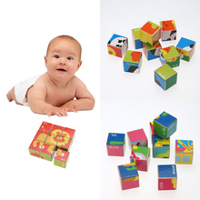 9pcs/set 3D Animal Wooden Puzzle Education Learning Tools Toys Baby Six Sides Hexahedral Jigsaw Puzzle Developmental Toy Gift(China)