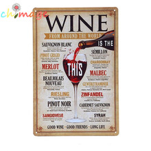 Wine around the world Tin Sign Bar pub home Wall Decoration Retro Metal Art Poster crafts(China)