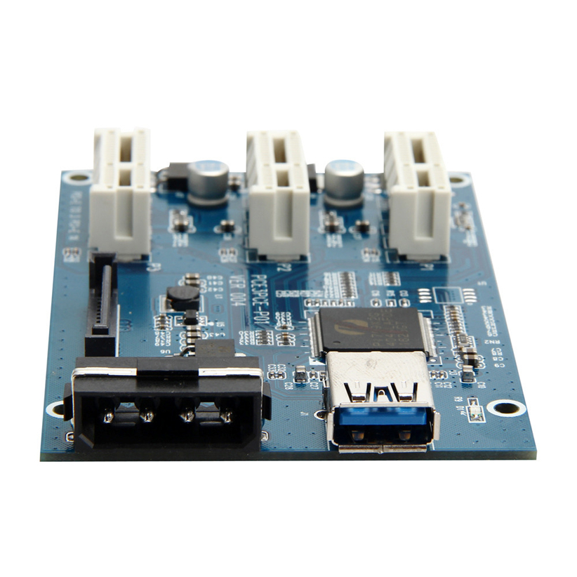 PCI-e Express 1X To 3 Port 1X Switch Multiplier HUB Riser Card +USB Cable 1PC Futural Digital Dorp Shipping AUGG9<br>