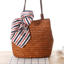 Vintage Women Handbag Fashion Shopping Tote Beach Bag Casual Bucket Straw Tote Bag Summer Shoulder Bag WITHOUT SCARF