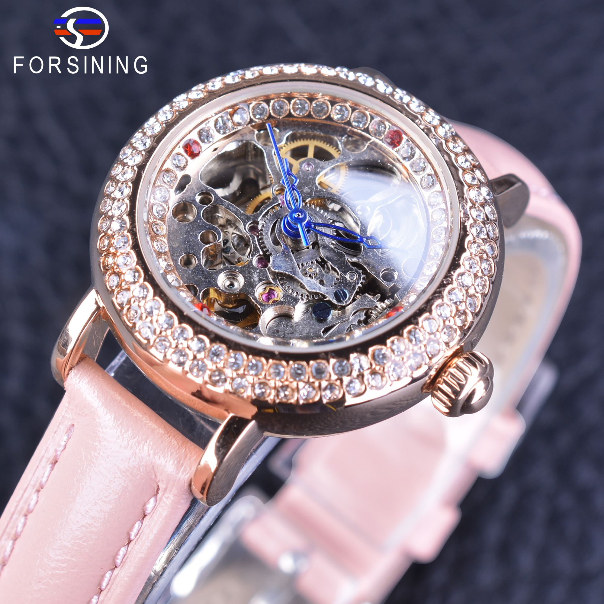 Forsining Women Fashion Pink Genuine Leather Strap Lady Geneva Diamond Skeleton Display Casual Watch Waterproof Automatic Watch<br>