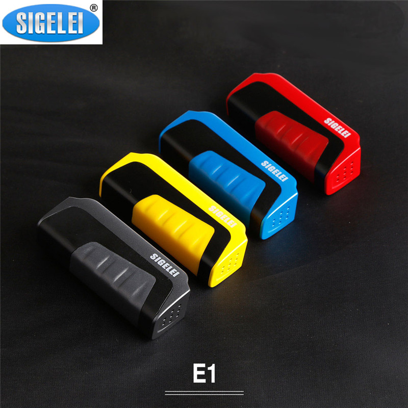 Original Sigelei E1 Mod 510 thread 0.91 inch OLED Display Electronic Cigarette Box Mod 18650 Vape Box TC Mod Zinc alloy/Plastic