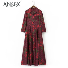 ANSFX Vintage Woman Bloom Ethnic Floral Pattern Plaid Slim Dress Fashion Turn-down Collar 3/4 Sleeve Mid-Calf A-Line Casual New