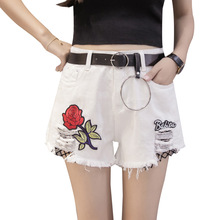 Summer Fashion Sexy White Denim Shorts Female High Waist Holes Black Grid Shorts Women Red Rose Embroidered Hot Shorts Jeans(China)