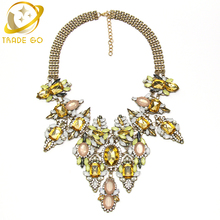 Luxury Crystal Drip Leaves Long Drop Statement Necklace Brand Design Leveling Necklaces & Pendants Women Chunky Fashion Necklace