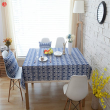 Bohemia TableCloth Cotton&linen elephant flower printed Tablecloth For Hotel Party Rectangle/round Table cover home textile blue(China)