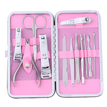 12 PCS/set Nail Art Manicure Tools Set Nails Clipper Scissors Tweezer Knife Manicure Sets Stone Pattern Case For Nail Manicure(China)