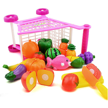 Mini Shopping Cart Full Basket Toy Playset Grocery Food Cart for Kids Girl Furniture Toys for Children Christmas Gift