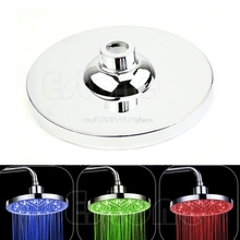 "8"" inch Round Rain Stainless Steel Bathroom RGB LED Light Shower Head #L057# new hot"