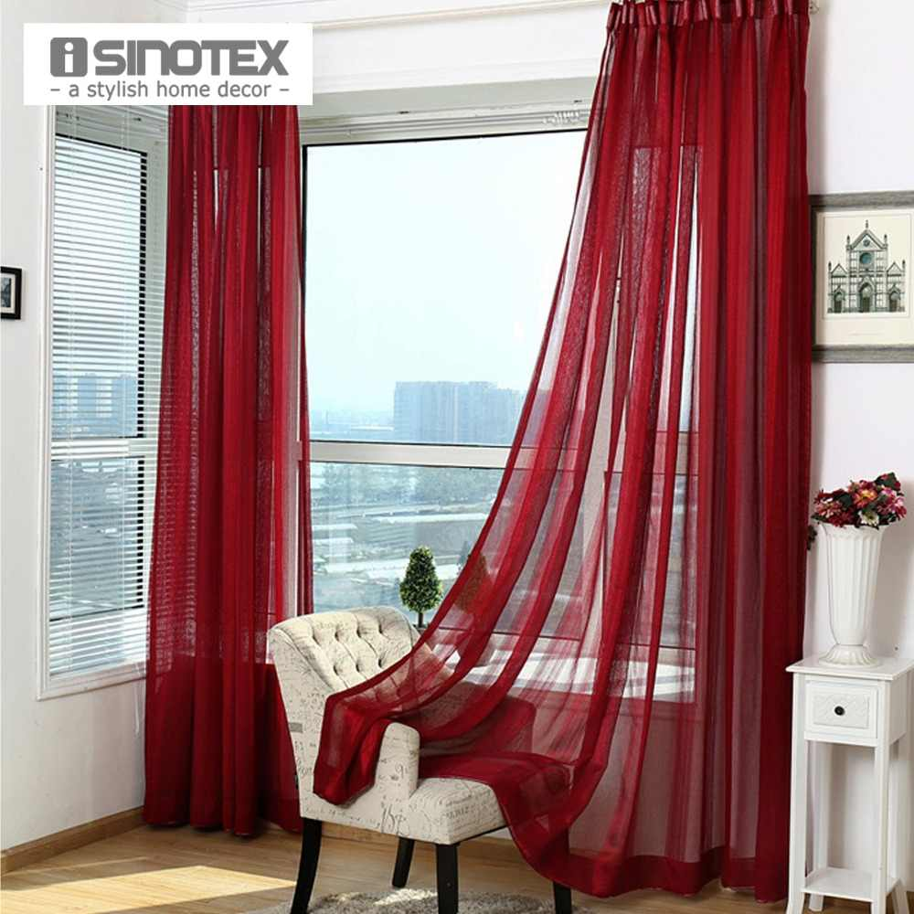 1PCS/Lot iSINOTEX Window Curtain Sheer Screening Solid Transparent Living Room Fabric Tulle Voile Khaki/Pink/Purple/Red