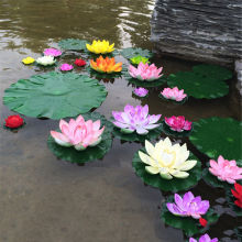 1PC Artificial Lotus Water Lily Floating Flower Pond Tank Plant Ornament 10cm Home Garden Pond Decoration