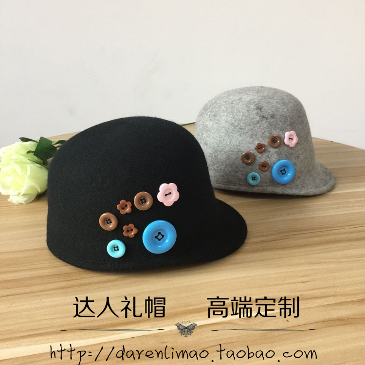 College wind, wool hat short eaves equestrian cap color button female baseball hat<br><br>Aliexpress