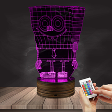 1Piece SpongeBob SquarePants LED Vision Stereo Lamp Creative Acrylic Light Gradient Colorful LED Nightlight Novelty LED Lights(China)