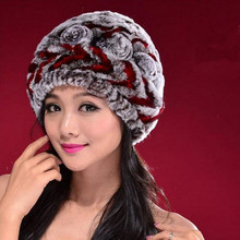 Rex thick wool knitting fur hats old rose hat warm winter hat(China)
