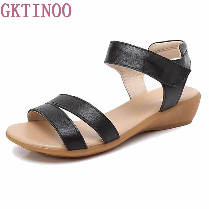 2018 Genuine Leather Women Flats Sandals Plus Size 34-40 New Fashion Casual Solid Woman Shoes Beige V2862<br>