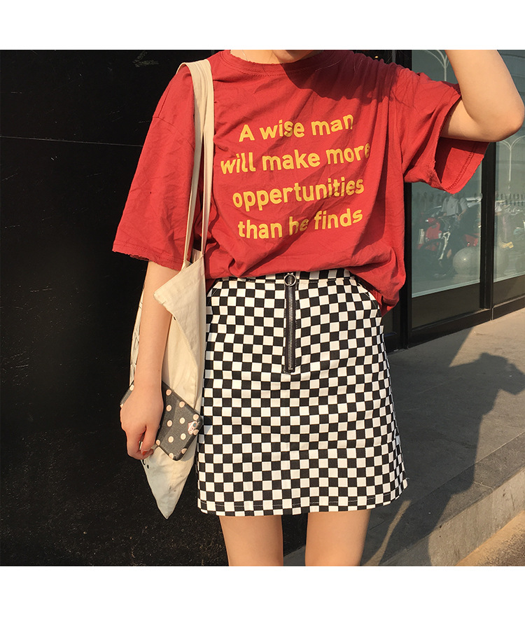 2017 Summer Korean Style Black White Plaid High Waist Slim A-line Female Skirts 2