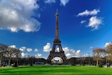 DIY frame Paris City Eiffel Tower, Sky, Grass Urban Landscape Scenery Fabric Silk Poster Print Great Pictures On The Wall 17DFDF(China)