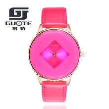 GUOTE Brand New Fashion Big Crystal Square Face Casual Quartz Watch Women Leather Strap Watches Relogio Feminino Clock Hot Sale